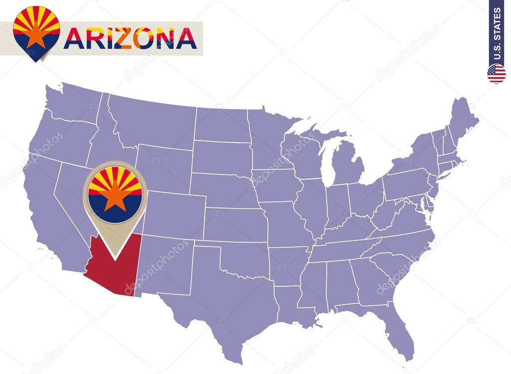 Arizona State on USA Map Arizona flag and map Stock Vector