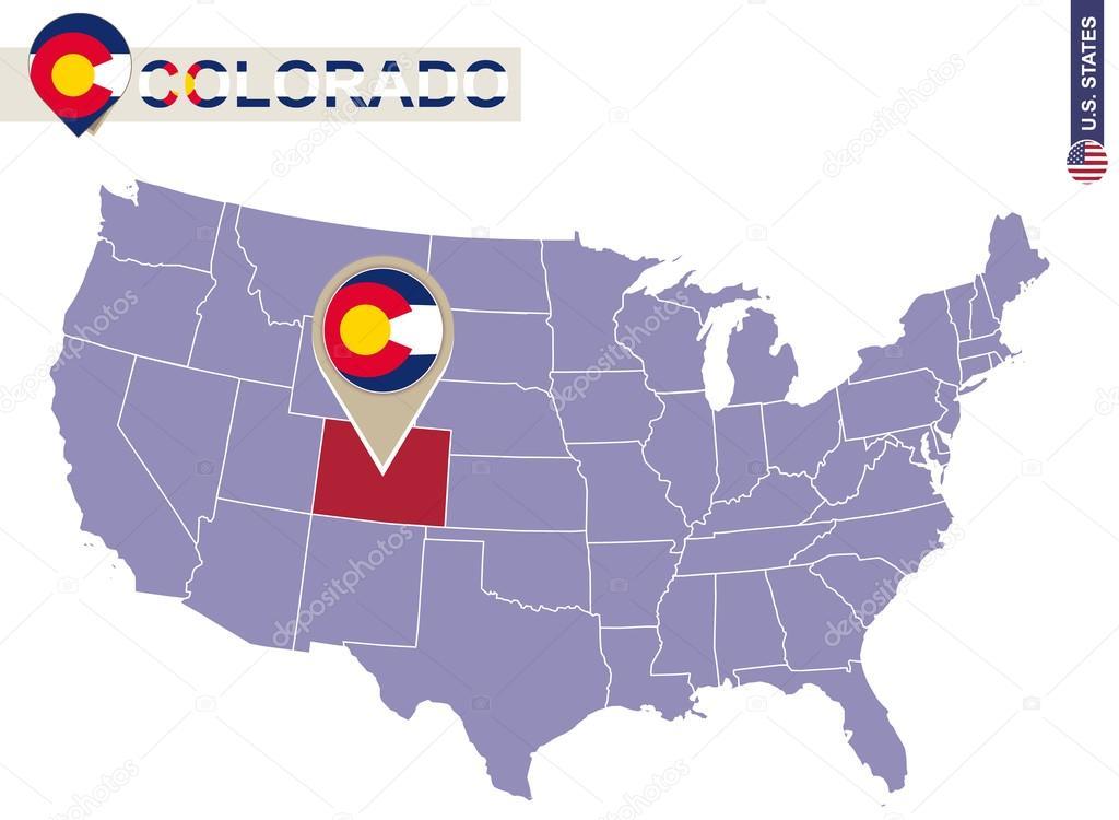 Estado De Colorado En El Mapa De Estados Unidos Mapa Y Bandera De - Mapa de colorado usa