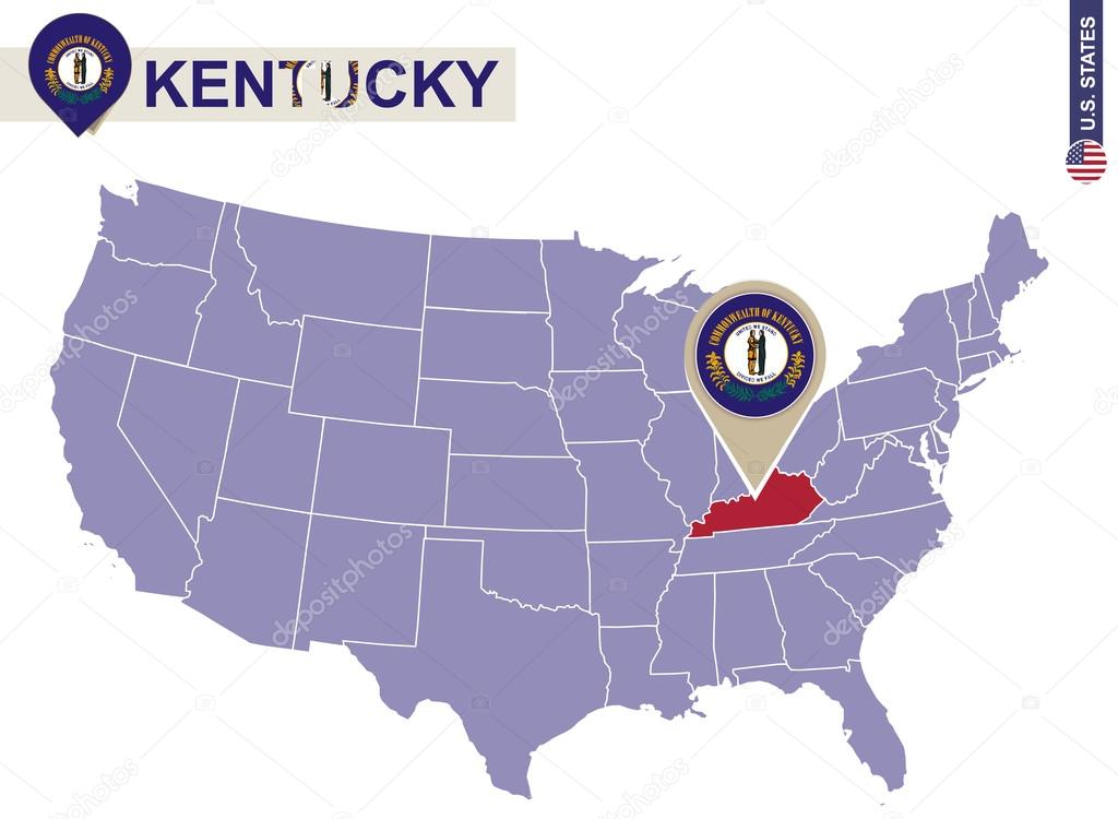 Kentucky State on USA Map Kentucky flag and map Stock Vector