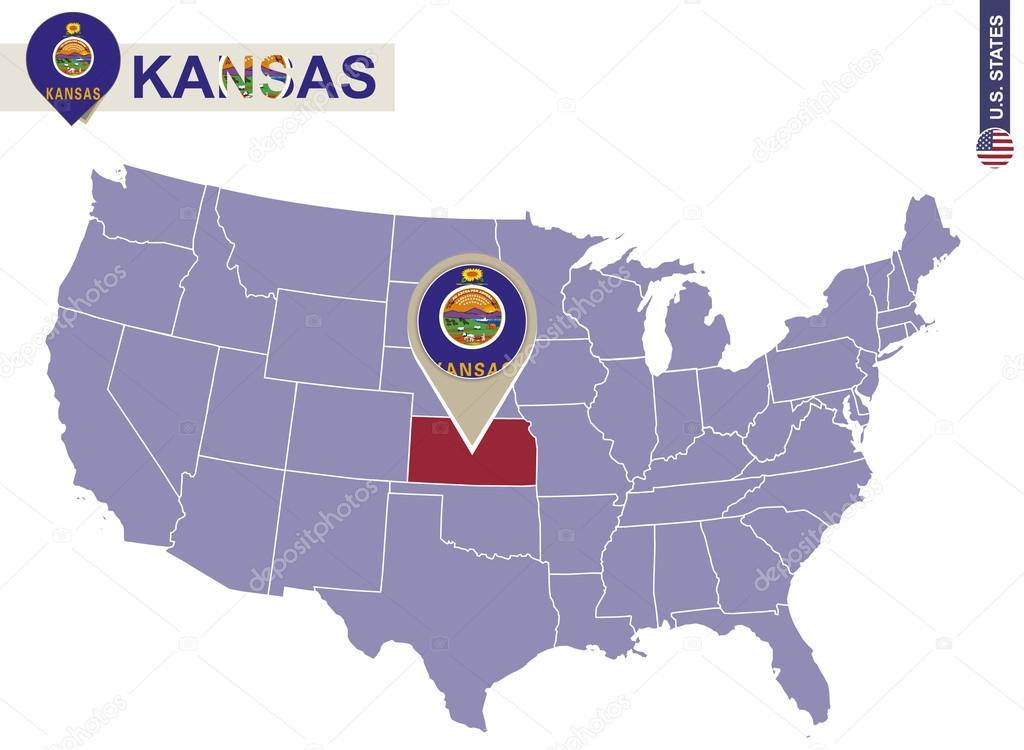 Kansas State on USA Map Kansas flag and map Stock Vector boldg