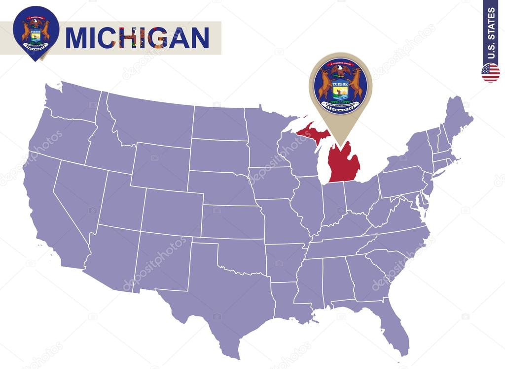 Michigan State On Usa Map Michigan Flag And Map Stock Vector - Us-map-michigan-state