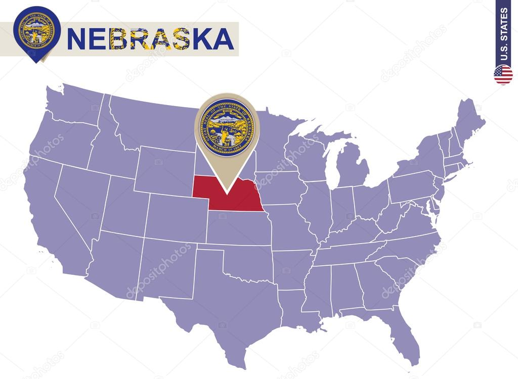 Nebraska State On Usa Map Nebraska Flag And Map Stock Vector