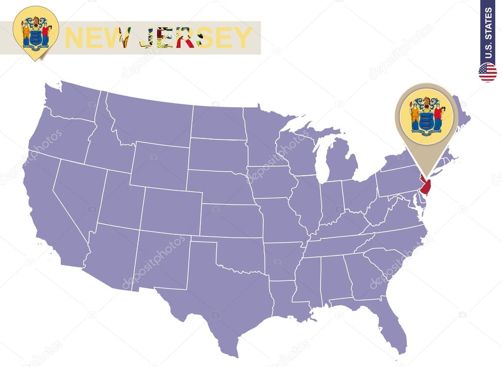 new jersey state on usa map new jersey flag and map stock vector
