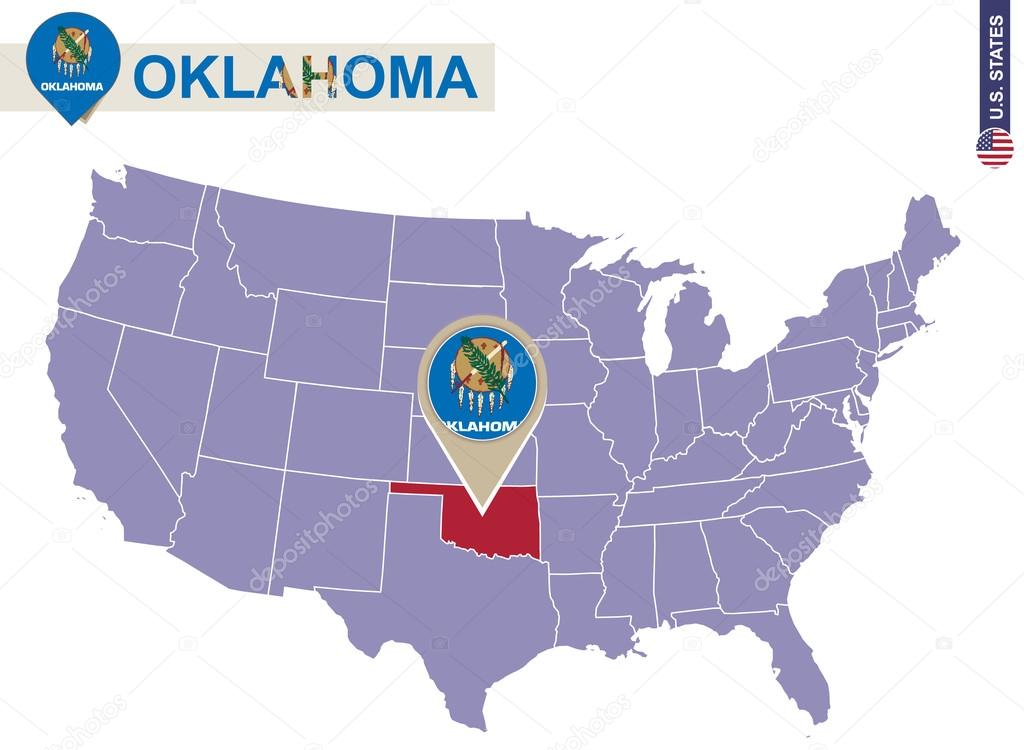 Oklahoma State On Usa Map Oklahoma Flag And Map Stock Vector - Oklahoma-in-us-map