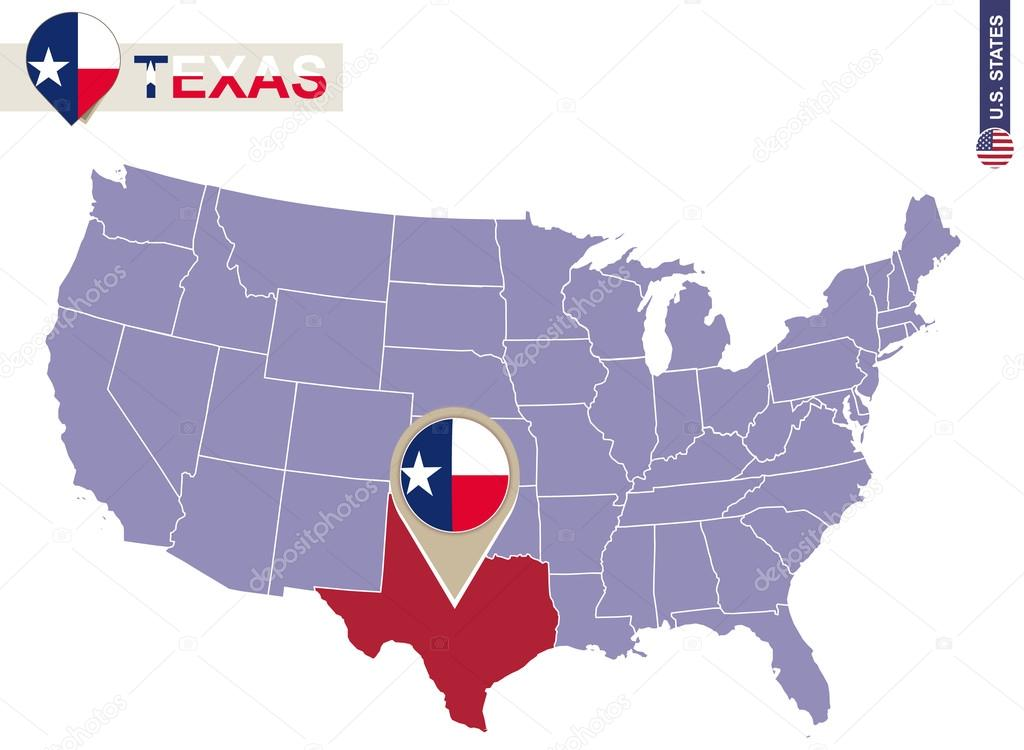 Texas State on USA Map Texas flag and map Stock Vector boldg
