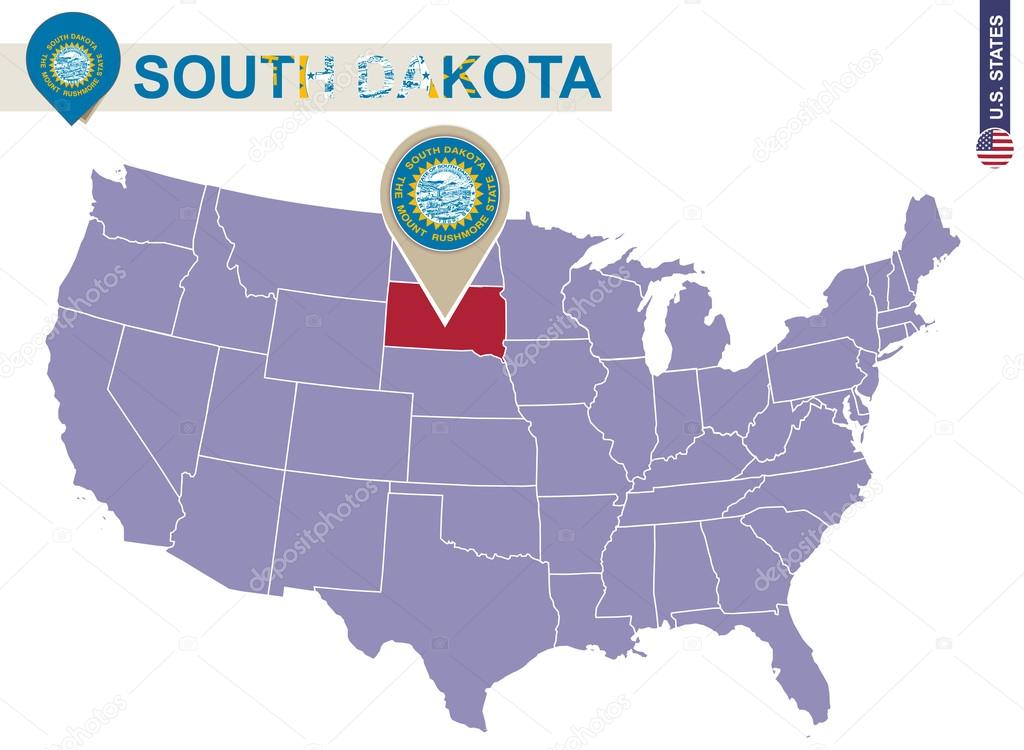 South Dakota State On Usa Map South Dakota Flag And Map Stock
