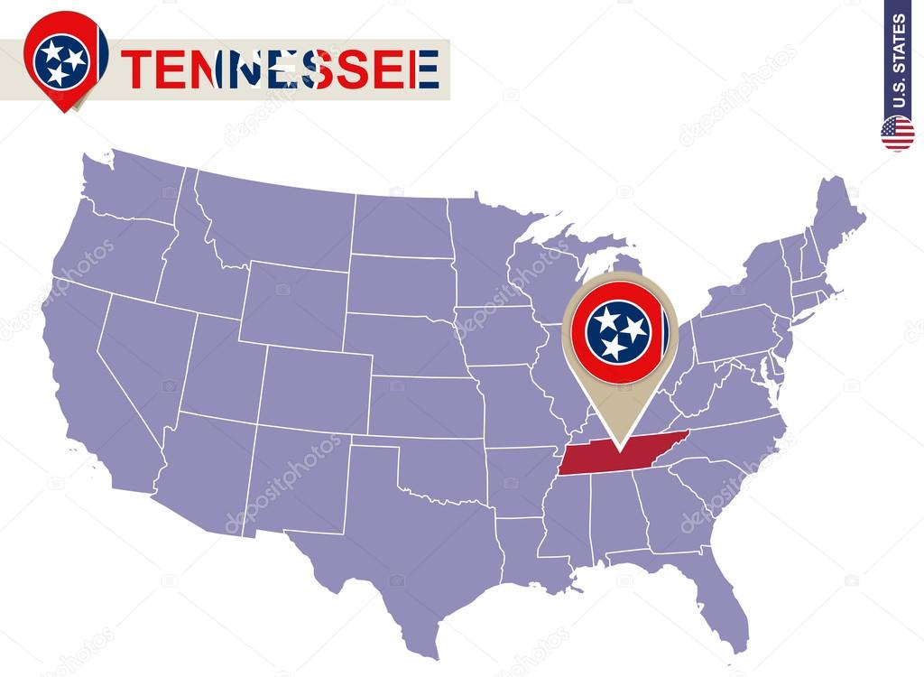 Tennessee State on USA Map. Tennessee flag and map. — Stock Vector ...