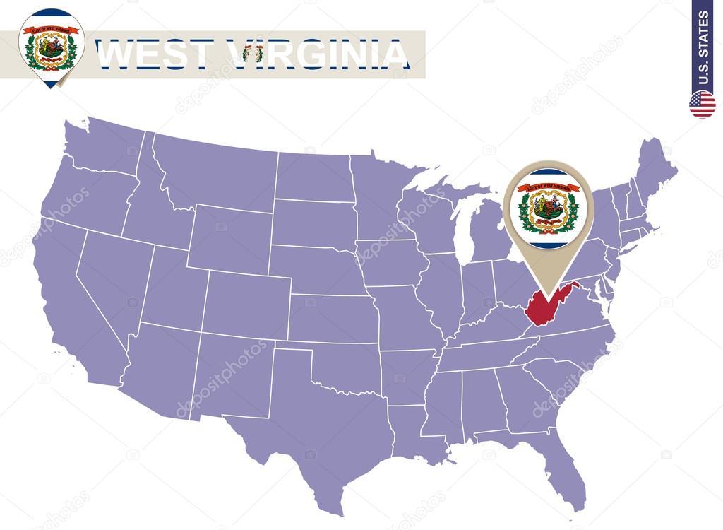 West Virginia State auf Usa-Karte. West Virginia Flagge und ...
