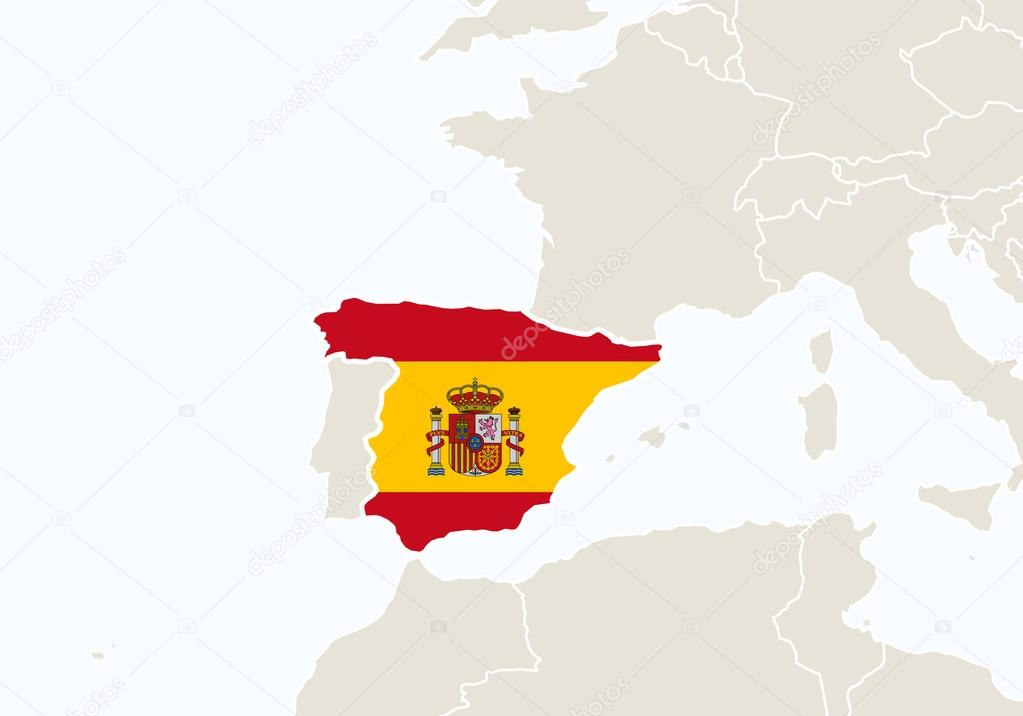 Spain On A Map Of Europe.Europe With Highlighted Spain Map Stock Vector C Boldg 99167880