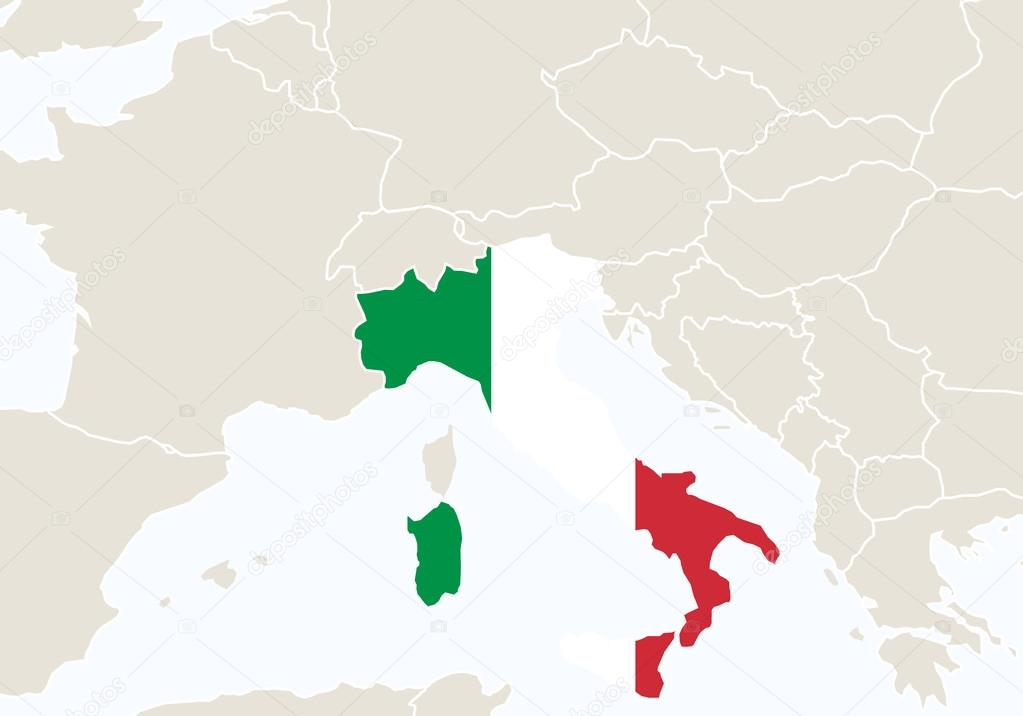 Cartina Italia Google Maps.Europe With Highlighted Italy Map Vector Image By C Boldg Vector Stock 99167972