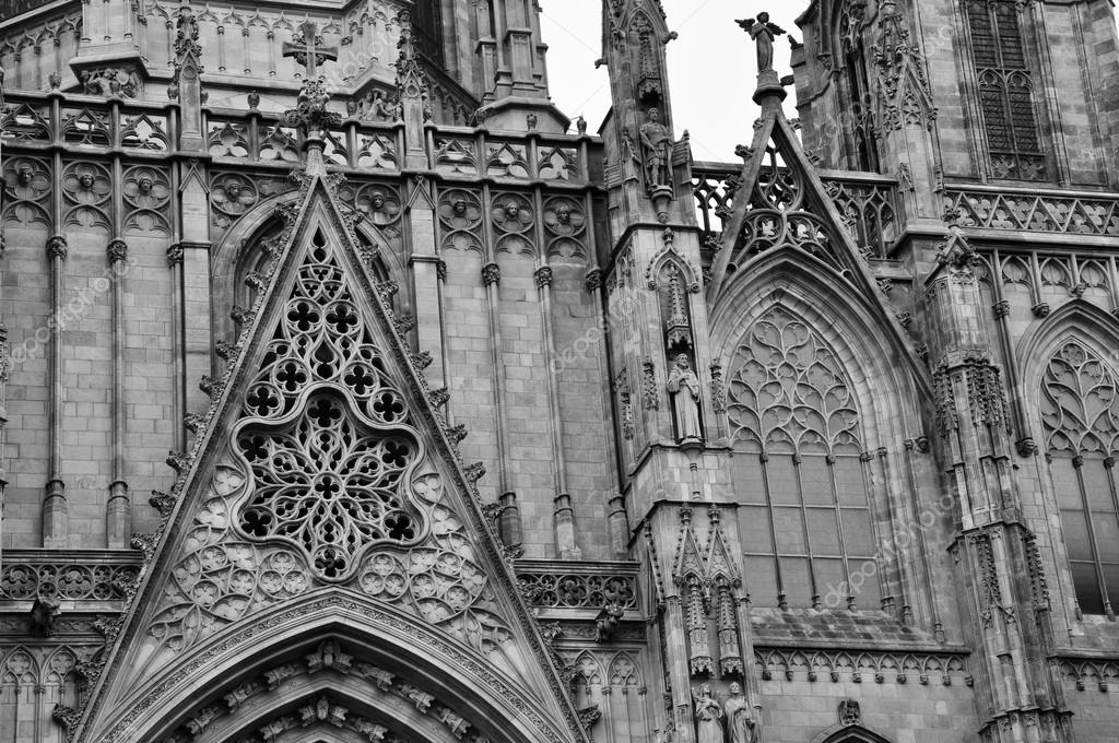 Facade Of The Gothic Cathedral Barcelona Spain Stock Photo