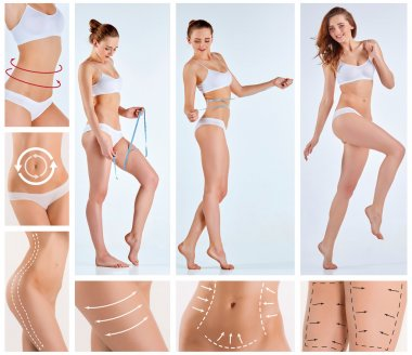 Collage of female body with the drawing arrows