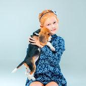 Šťastná dívka a beagle štěně na šedém pozadí