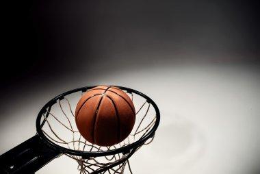 Basketball board and basketball ball on gray background