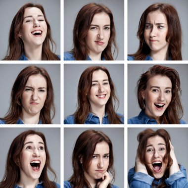 Set of young womans portraits with different emotions
