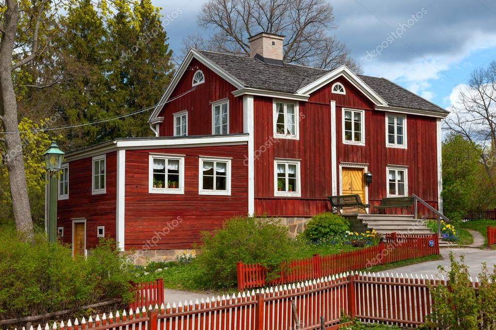 typical swedish  wooden house, stockholm