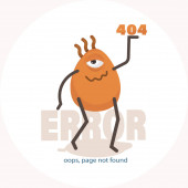 Photo Error 404. oops, page not found. Vector illustration of cute cartoon one-eyed character. Banner for the website. Isolated on a white background.