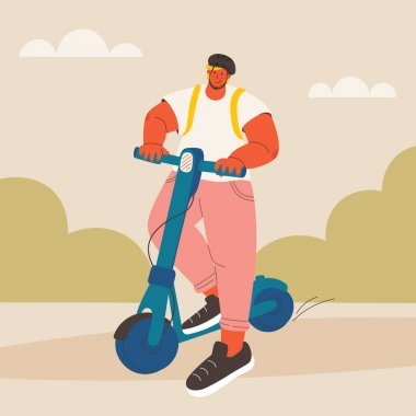 Young man on electric scooter. Guy in protective helmet in park moves on scooter. Vector trendy illustration, disproportionate character.