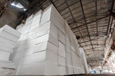 Polystyrene insulation boards. Polystyrene plates warehouse. Polystyrene Stack stock vector