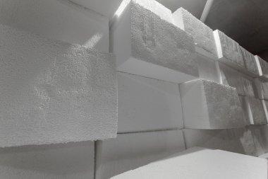 Large blocks of polystyrene. Polystyrene insulation boards. Polystyrene plates warehouse. Polystyrene Stack stock vector