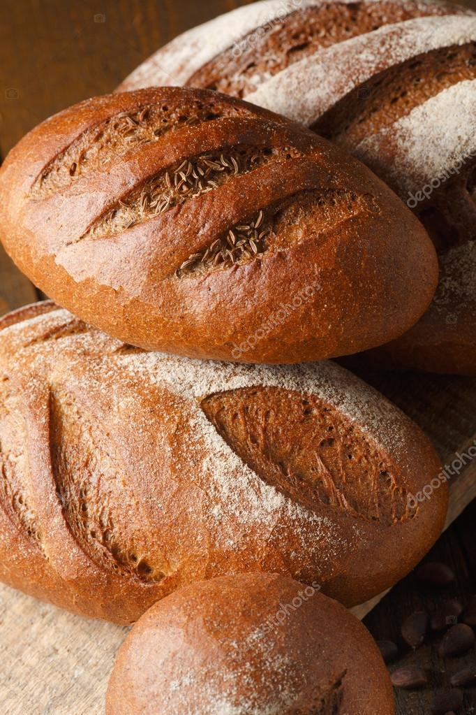 Fresh dough in flour with rye bread