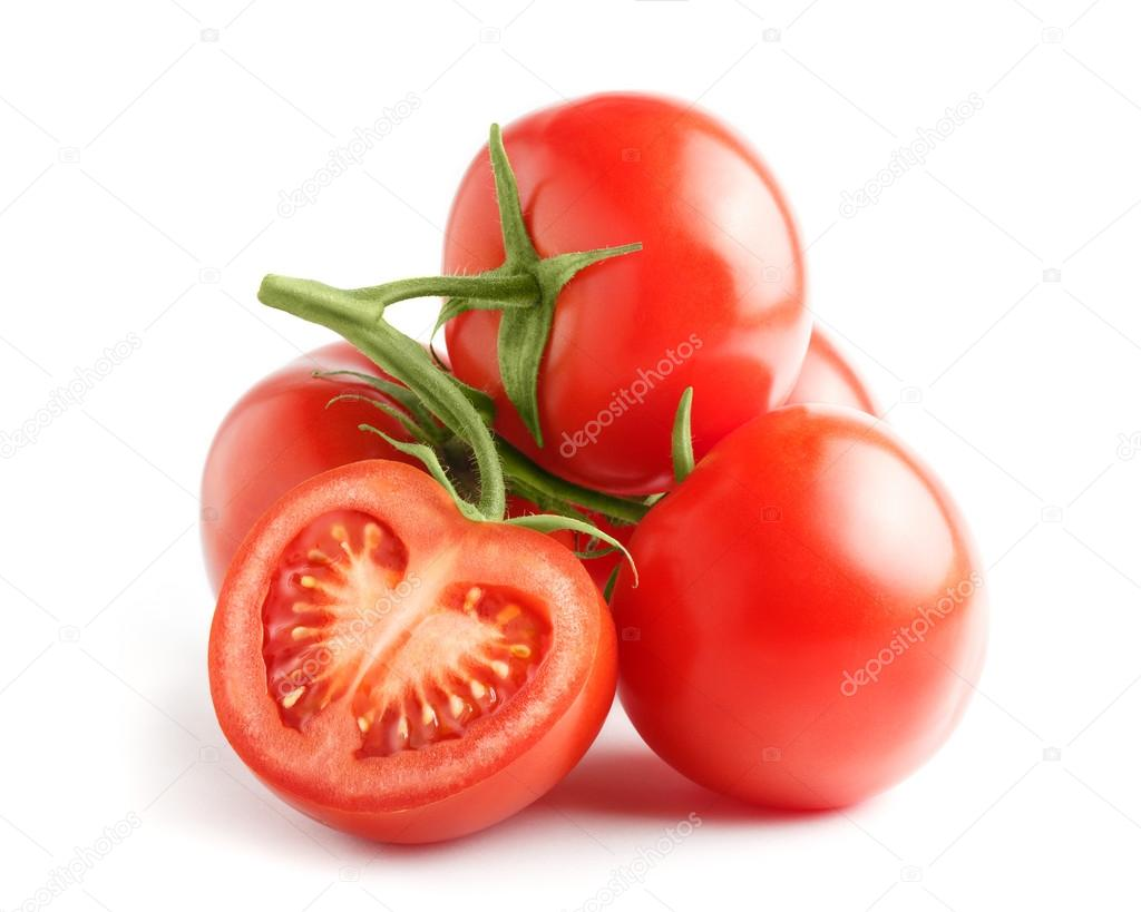 Fresh tomatoes on a green stem