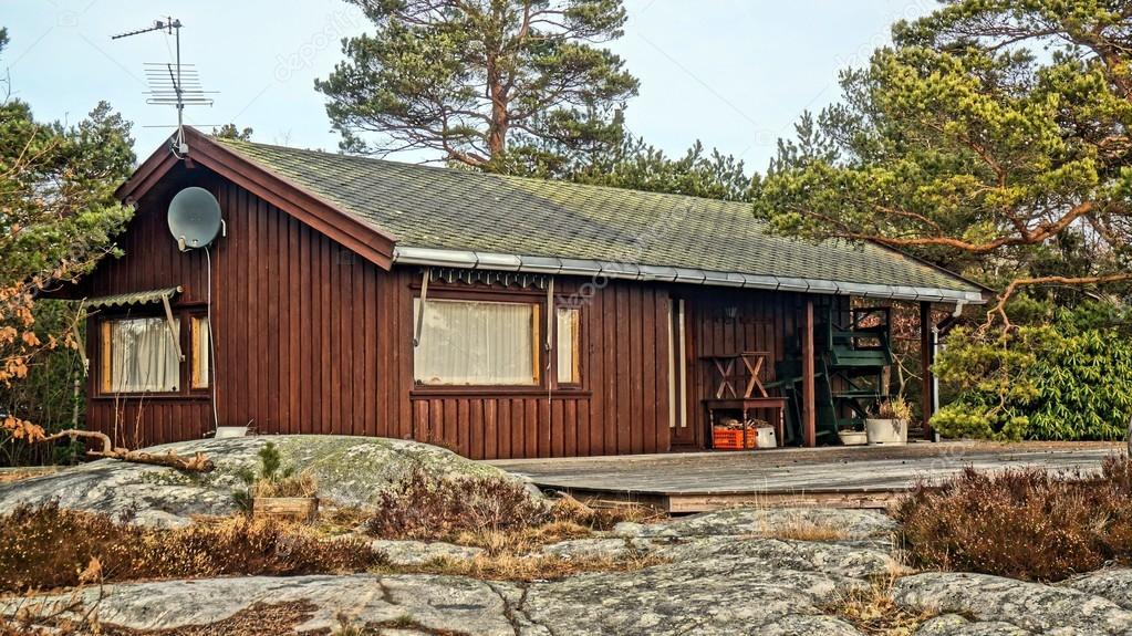Norwegian summer cabin among rocks
