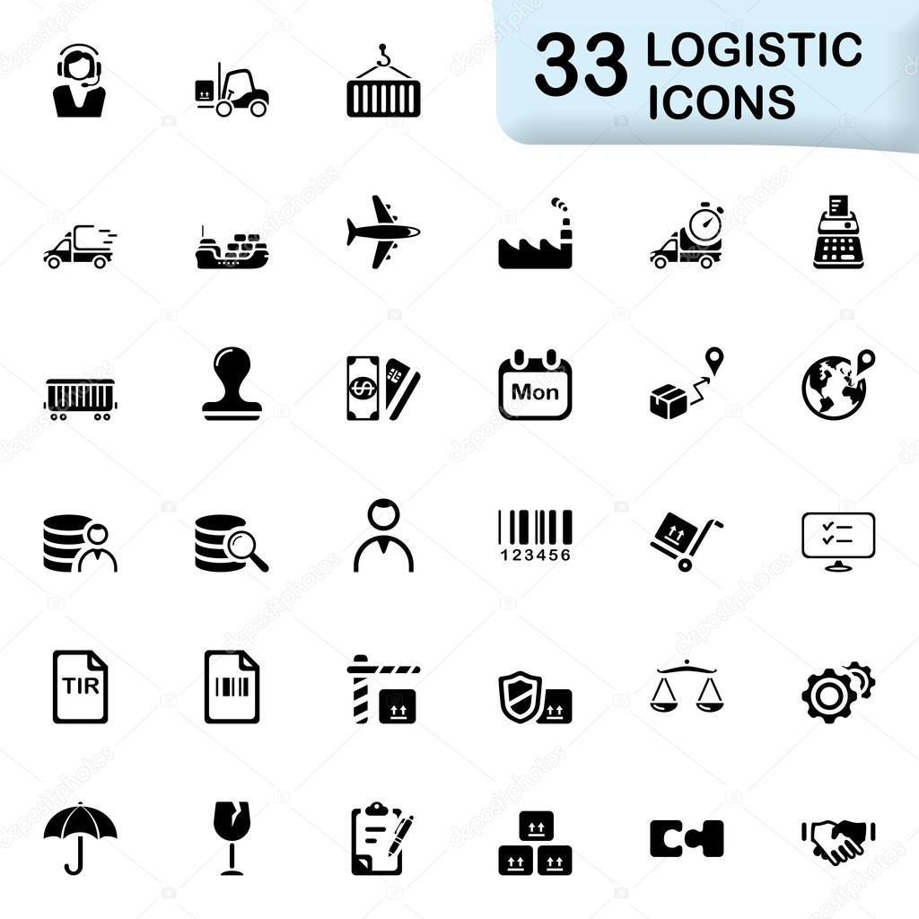 33 black logistic icons