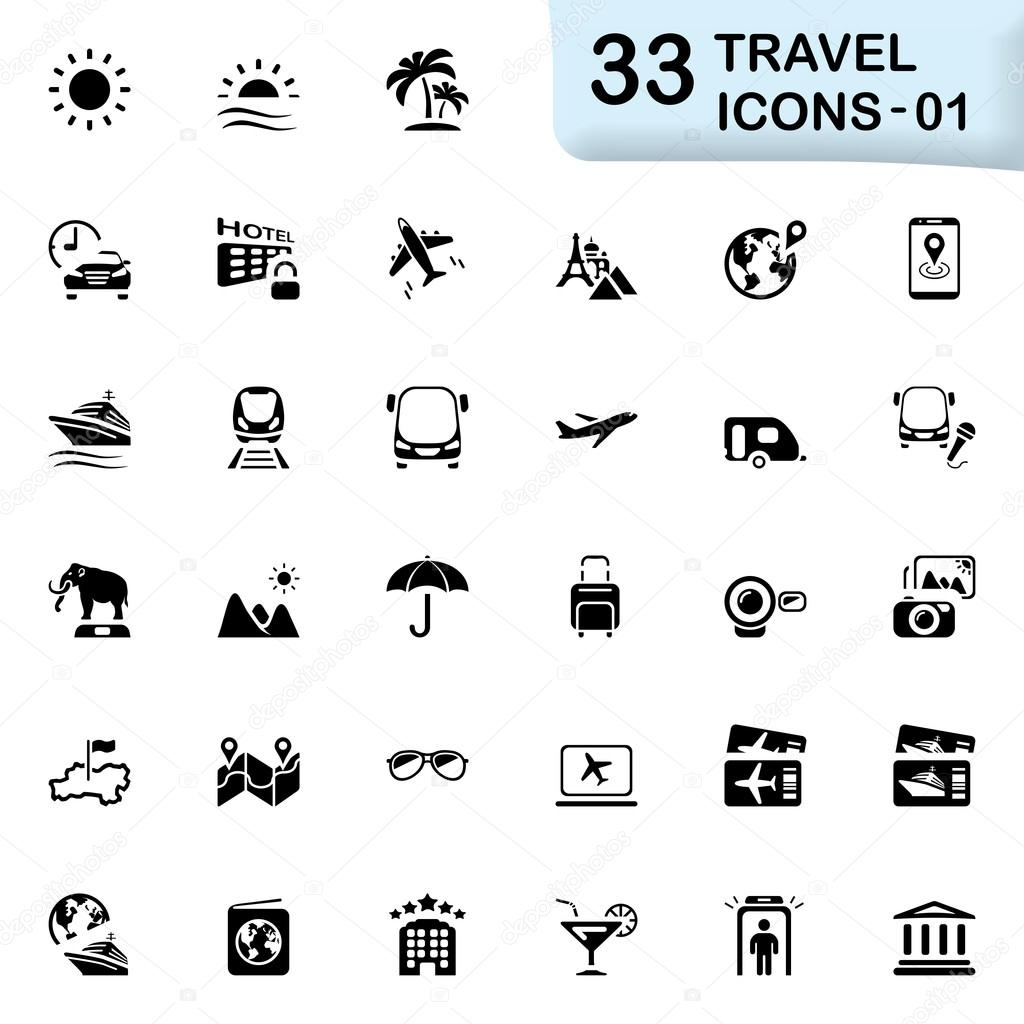 33 black travel icons 01