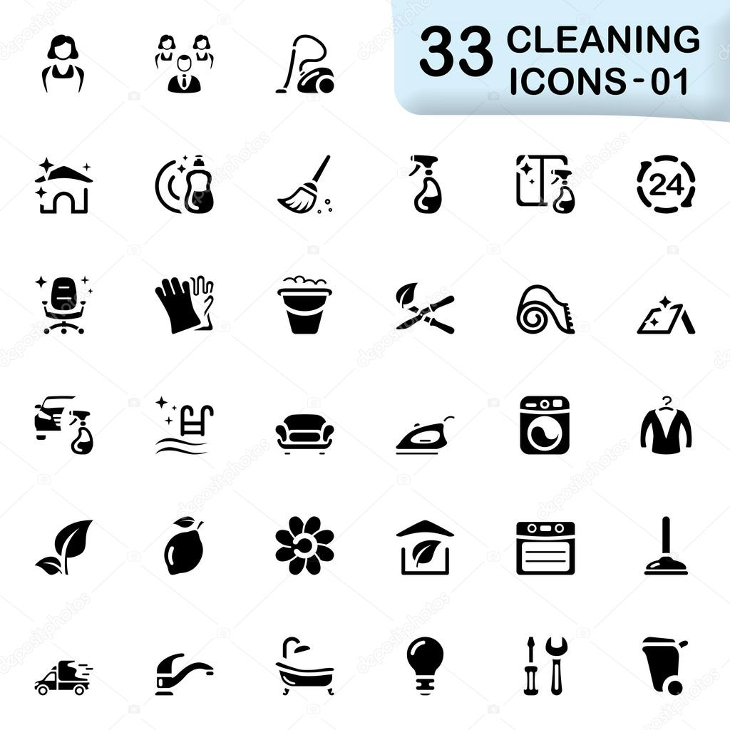 33 black cleaning icons 01
