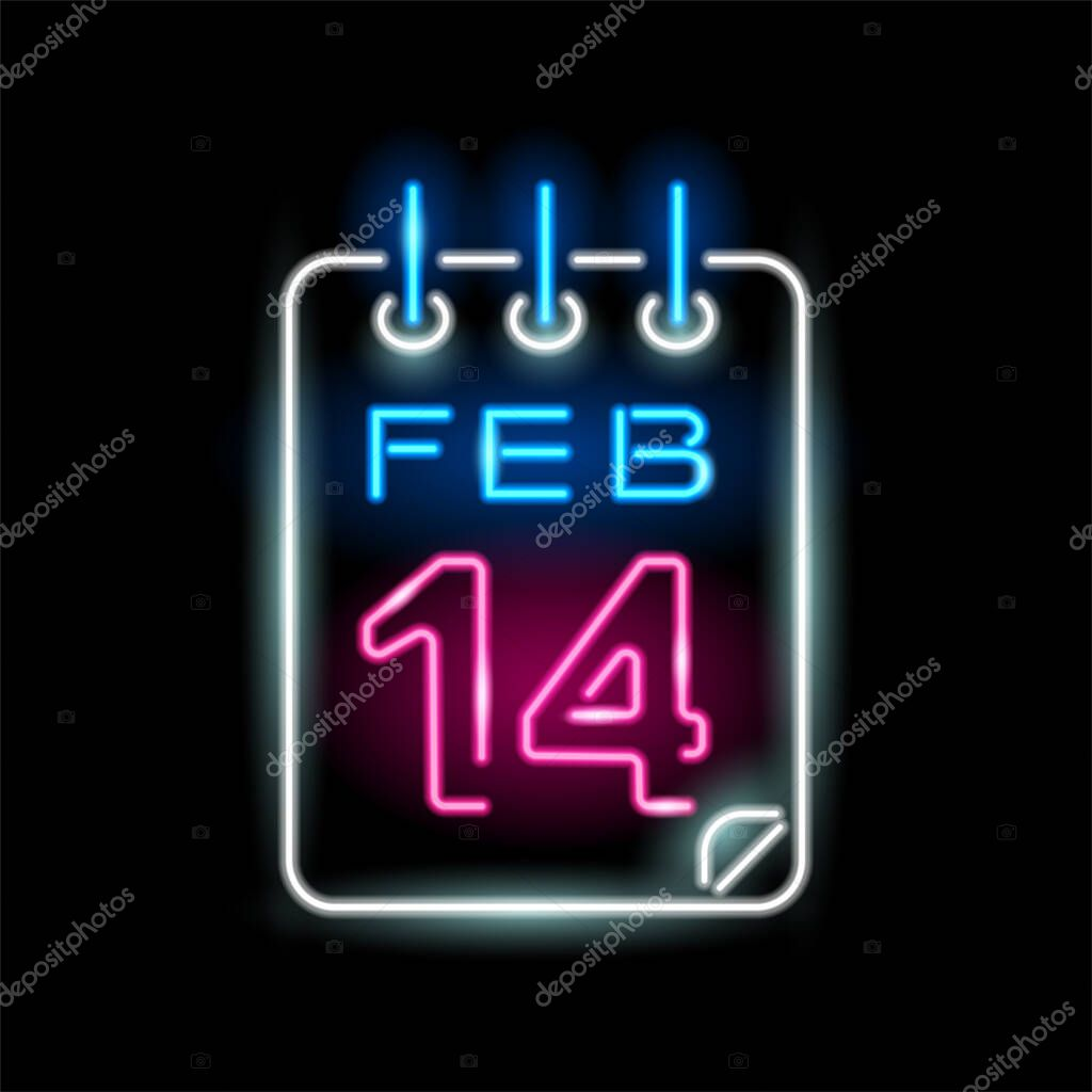 Neon icon of calendar with 14 february isolated on black background icon