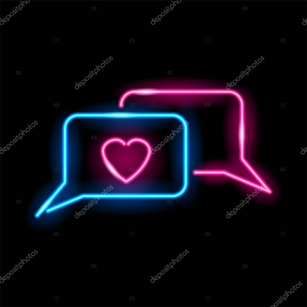 Neon icon of love chat messages isolated on black background icon