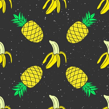 Colorful Cosmic seamless pattern of bananas and pineapples on a starry background in pop-art style