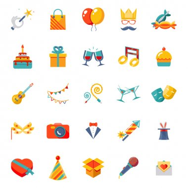 Flat modern trendy Isolated icons set gift, party, birthday