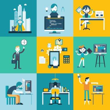 Web development team characters