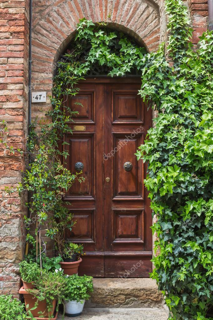 door with ivy