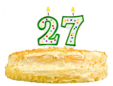 birthday cake candles number twenty seven isolated