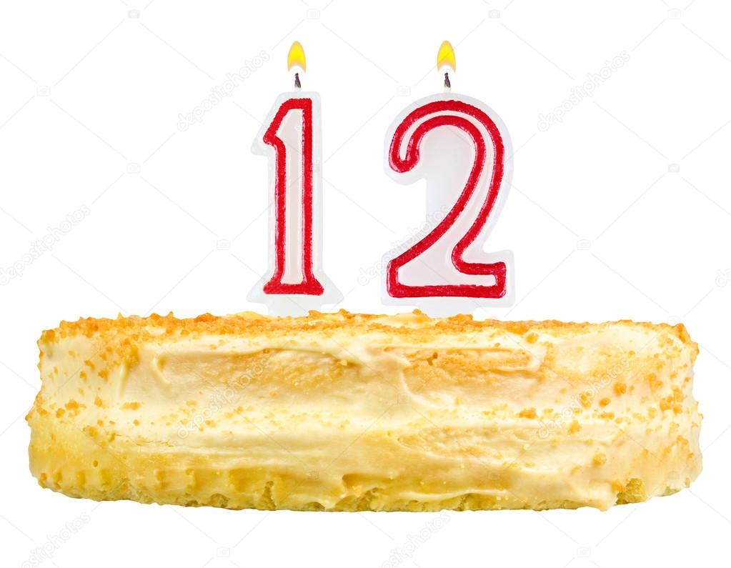 Birthday Cake With Candles Number Twelve Isolated On White Background Foto Von