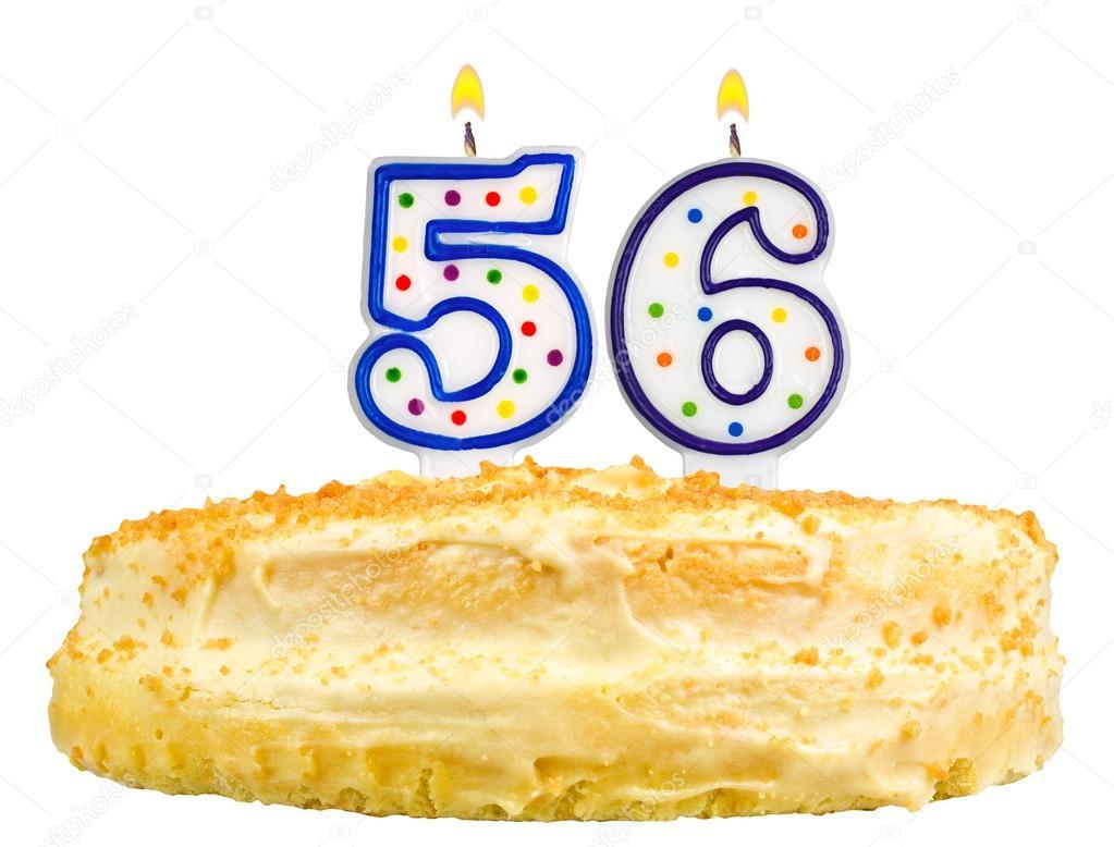 Torta Di Compleanno Candele Numero Cinquanta Sei Isolato Foto