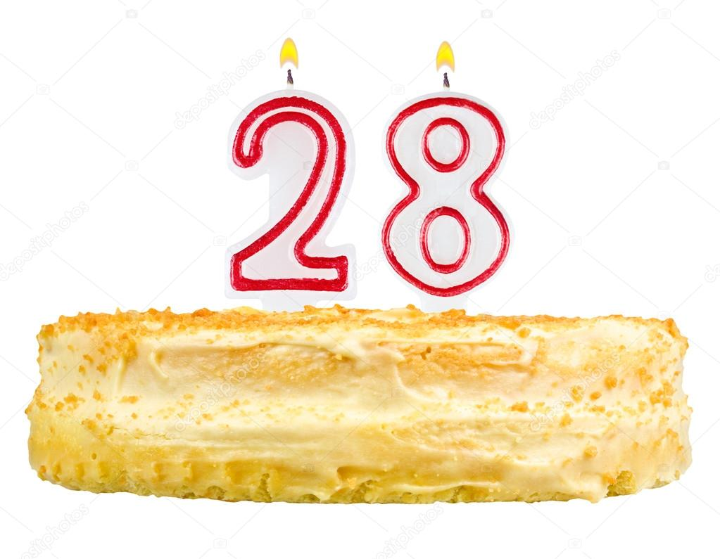 Birthday Cake Candles Number Twenty Eight Isolated Stock Image