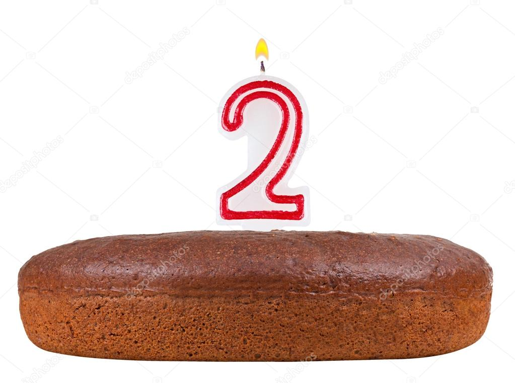 Birthday Cake With Candles Number 2 Isolated Stock Photo C Vladvm
