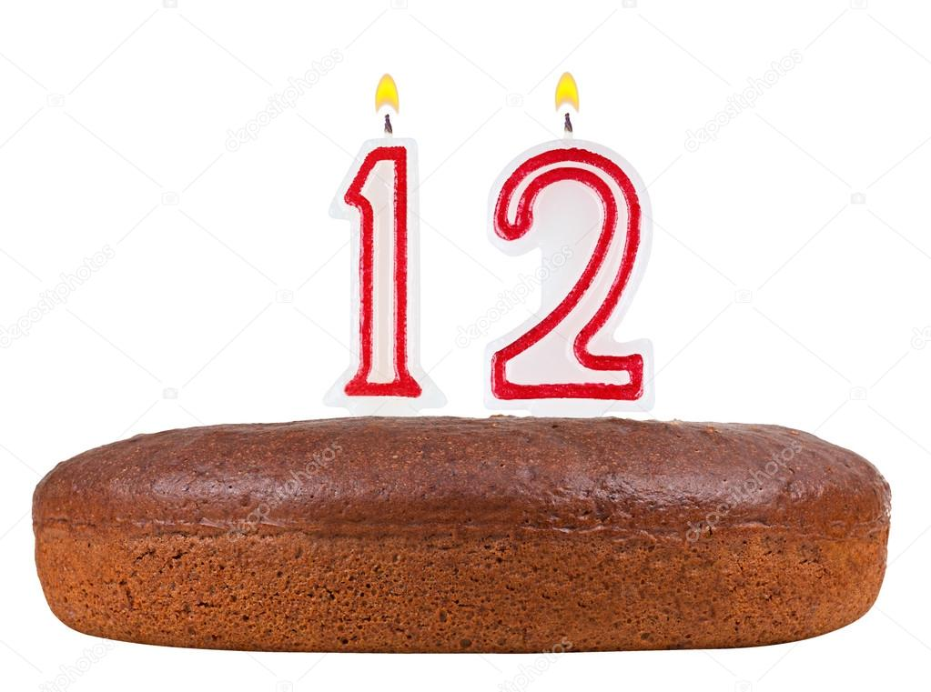 Birthday Cake With Candles Number 12 Isolated Stock Photo Vladvm
