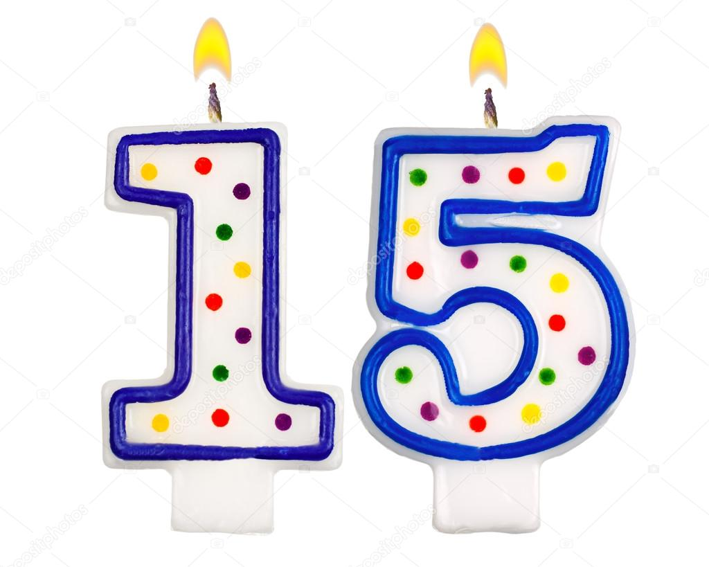 Birthday Candles Number Fifteen Stock Image