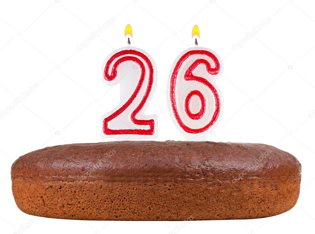 Birthday Cake With Candles Number 26 Isolated Stock Photo Vladvm