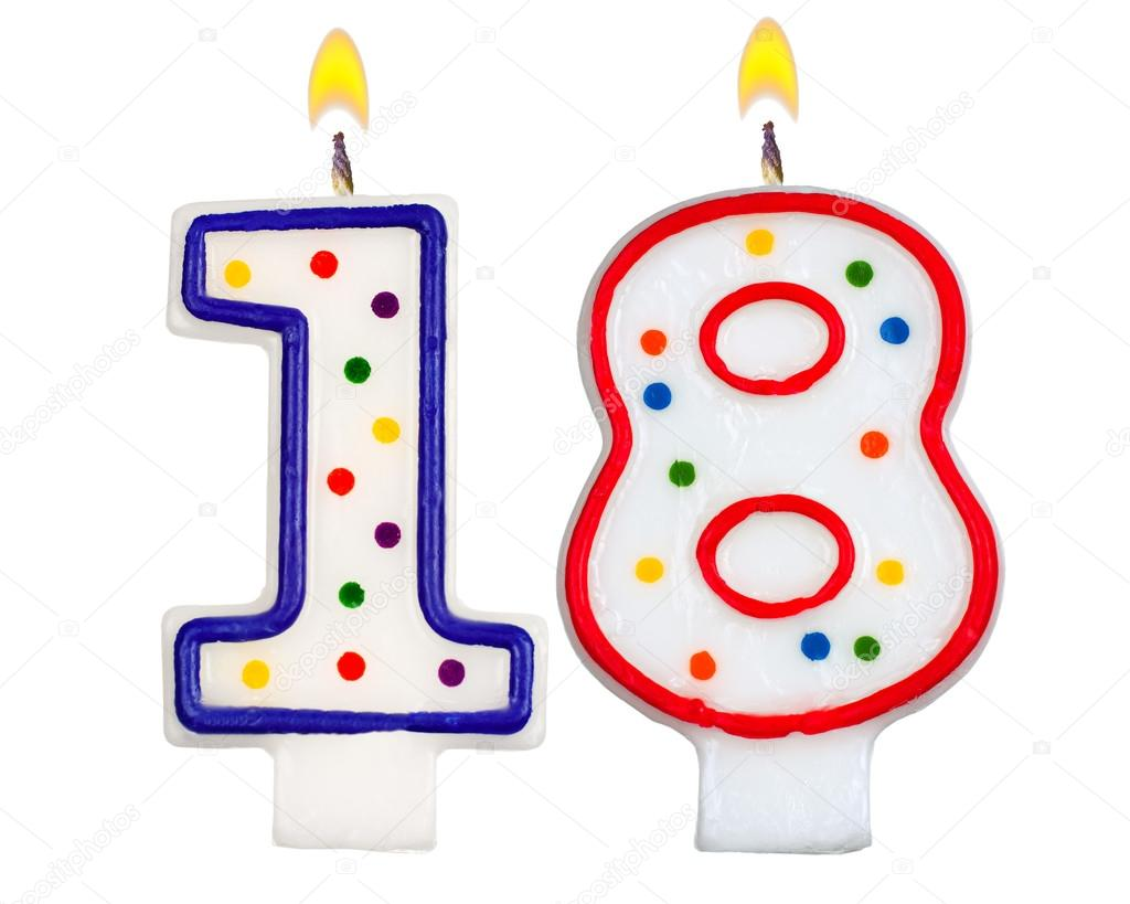 Birthday Candles Number Eighteen Isolated On White Background Photo By Vladvm