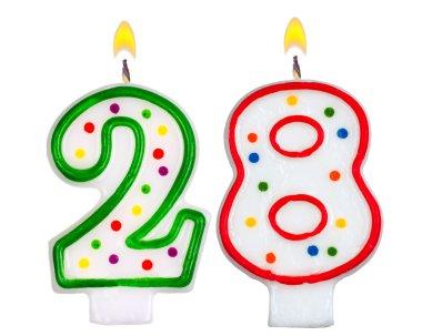Birthday candles number twenty eight