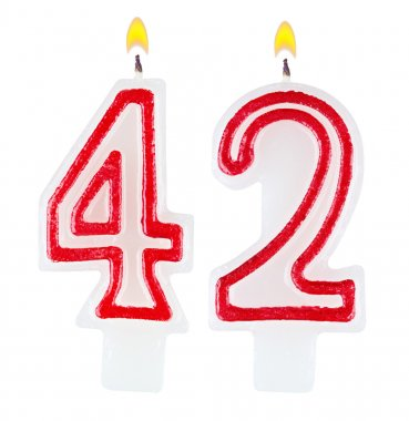 Birthday candles number forty two isolated