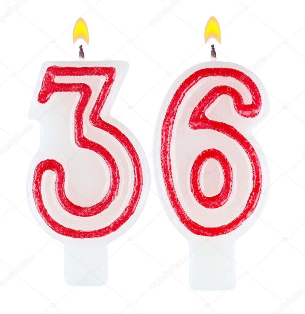 Birthday Candles Number Thirty Six Isolated On White Background Foto Von Vladvm