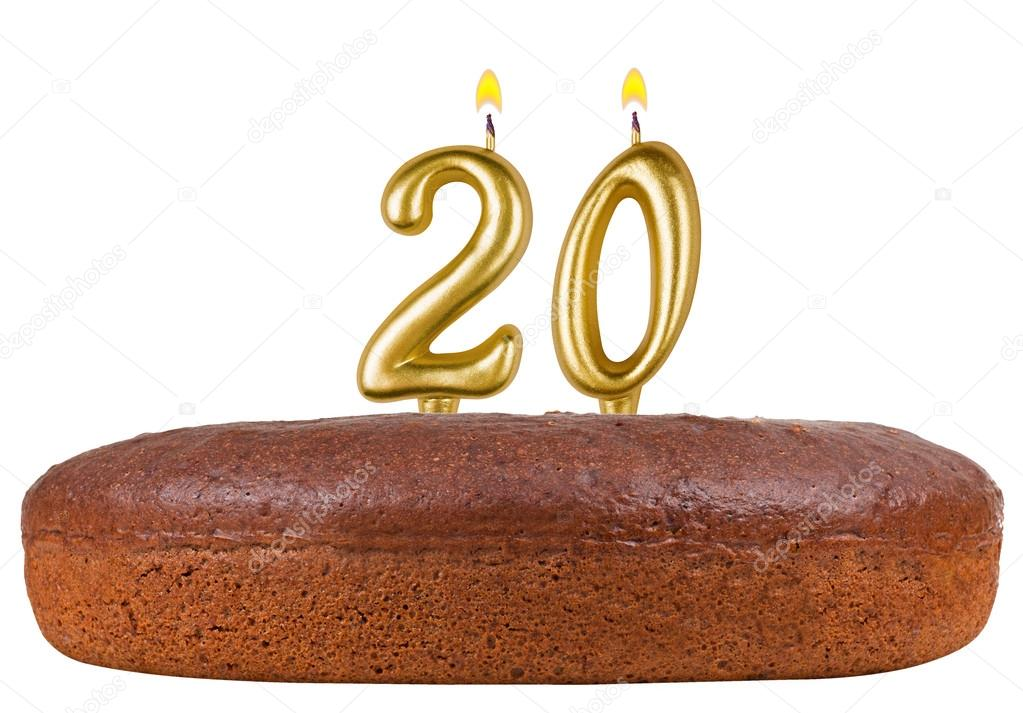 Birthday Cake With Candles Number 20 Isolated Stock Photo Vladvm