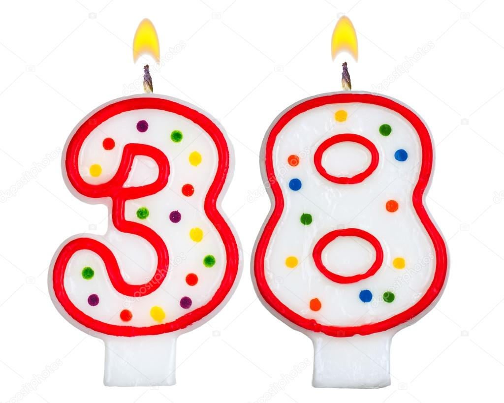 Birthday Candles Number Thirty Eight Isolated On White Photo By